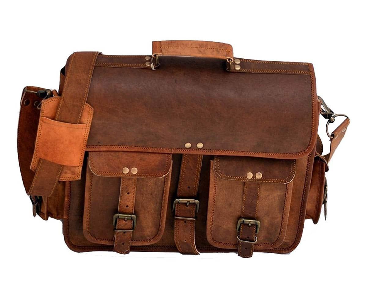 61467c05f Urban Dezire Men's Leather Laptop Satchel Briefcase Messenger Bag One Size  Brown
