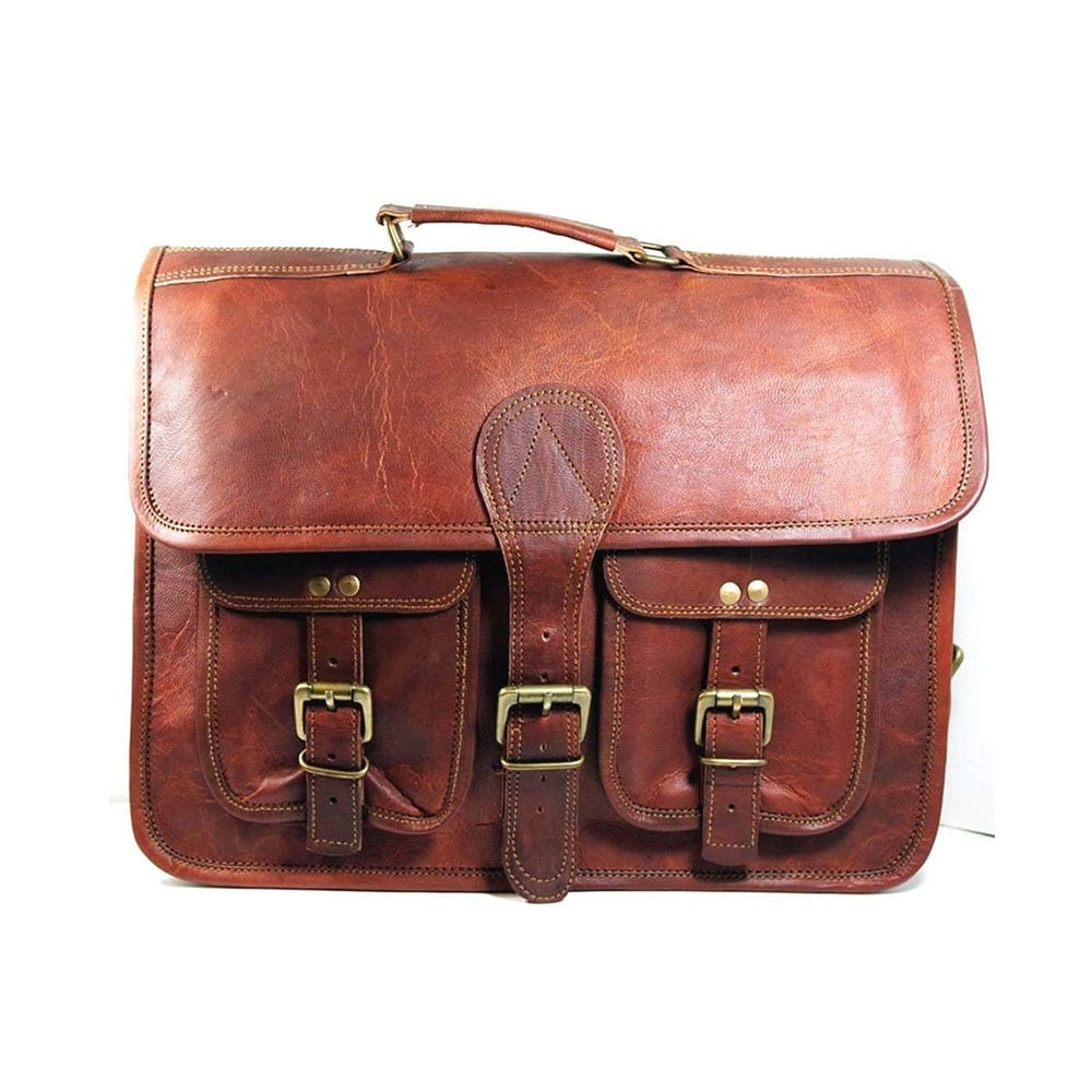 NEW Men/'s Briefcase Vintage Brown Leather Messenger Bag Satchel Laptop Bag HOT