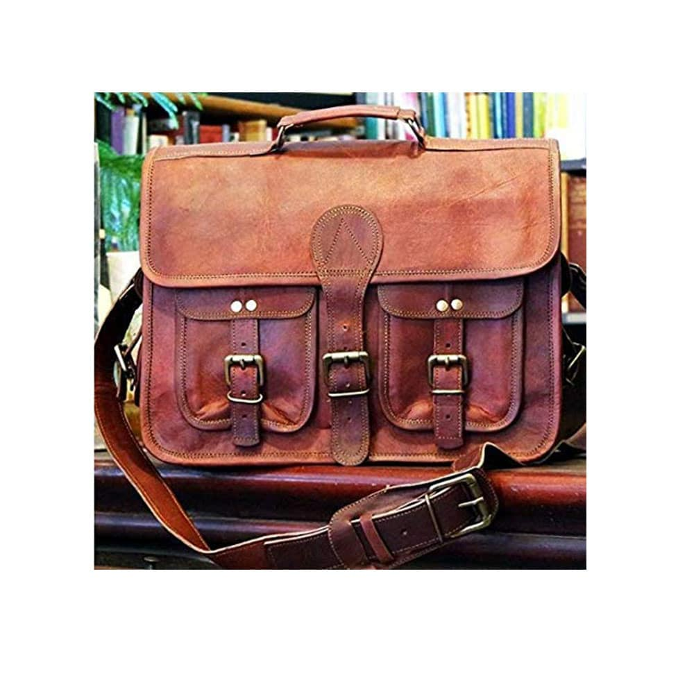 Vintage Genuine Leather Satchel Shoulder Bag Messenger Laptop briefcase for Men